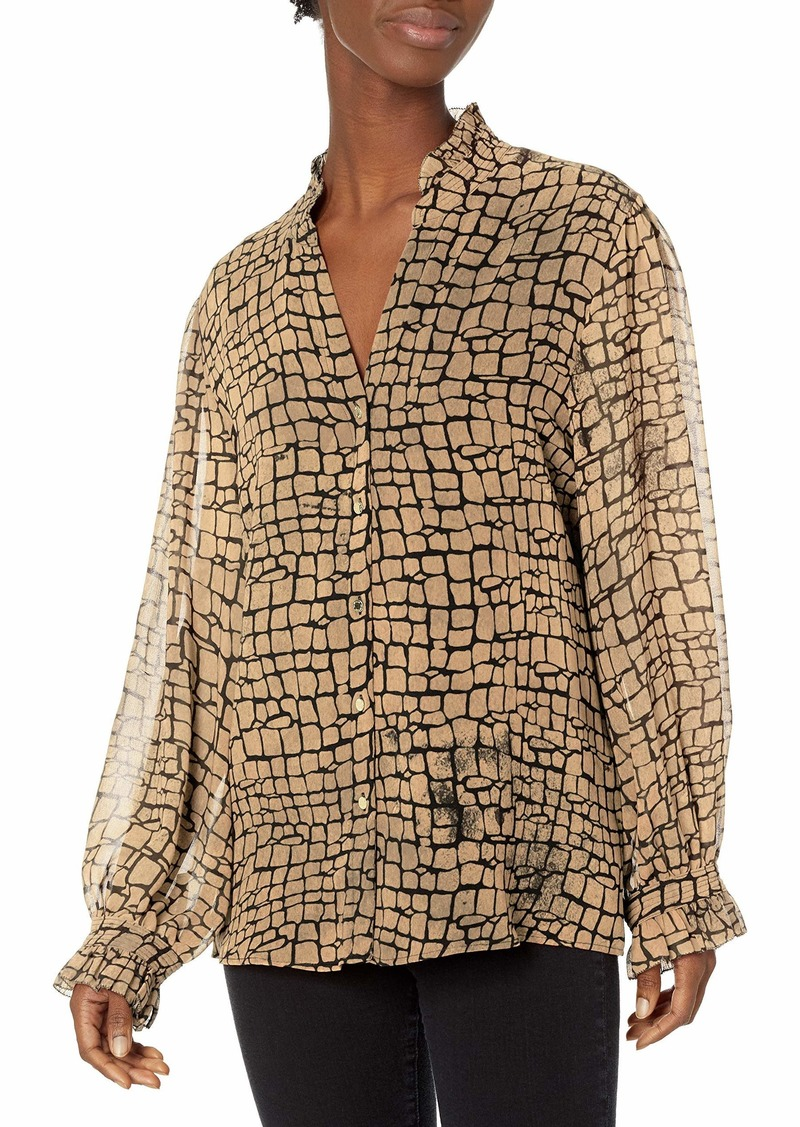 Calvin Klein Women's Printed Button Fron Blouse with V Neck