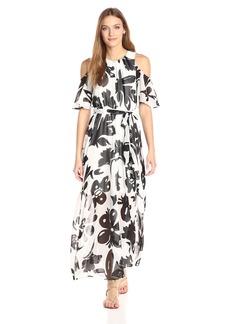 Calvin Klein Women's Printed Chiffon Pop Over Maxi Dress