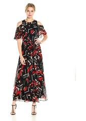 Calvin Klein Women's Printed Cold Shoulder Maxi Dress with Tie Belt