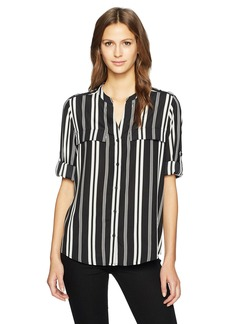 Calvin Klein Women's Printed Crew Roll Sleeve Blouse