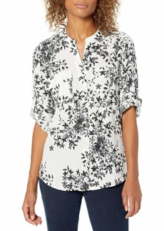 Calvin Klein Women's Printed Crew Roll Sleeve BK/WT FLRL Extra Small