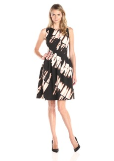 Calvin Klein Women's Printed Fit and Flare Dress Black/Pink
