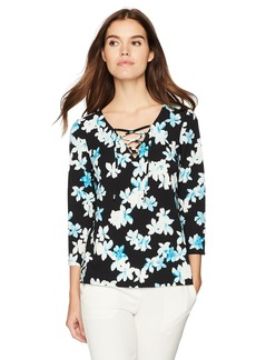 Calvin Klein Women's Printed Flare Sleeve Lace up Black/Sea Glass L