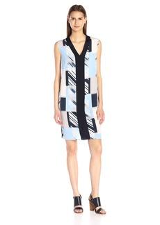 Calvin Klein Women's Printed Front Sweater Trim Dress