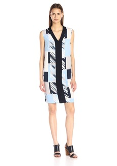 Calvin Klein Women's Printed Front Sweater Trim Dress