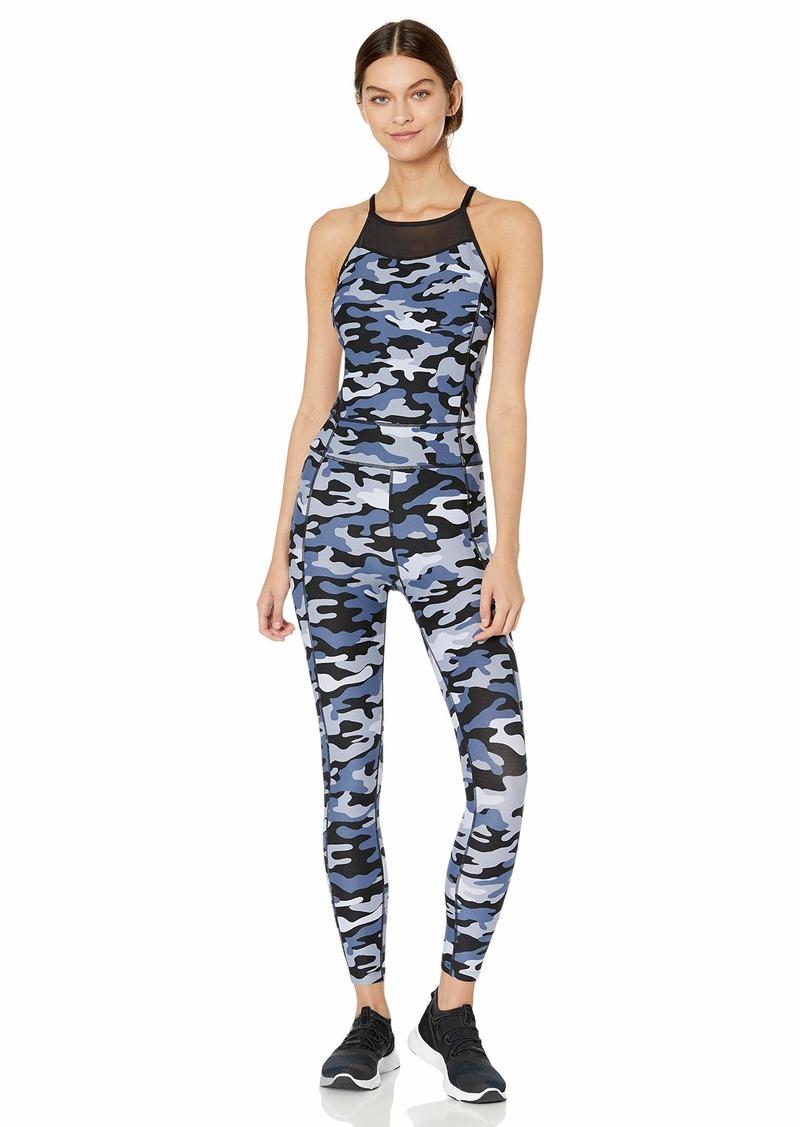 Calvin Klein Women's Printed Halter Neck Full Length Unitard camo Graphite Combo