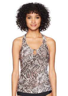 Calvin Klein Women's Printed Halter Tankini Swimsuit with Removable Soft Cups  Extra Large