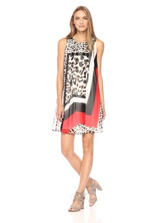 Calvin Klein Women's Printed Inverted Pleat a-Line Dress
