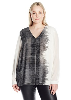 Calvin Klein Women's Printed Inverted Pleat Blouse  S