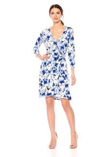 Calvin Klein Women's Printed Long Sleeve Dress with Hardware RGTA ice Blue XL