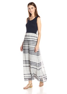 Calvin Klein Women's Printed Maxi Dress with Chiffon Bottom  L