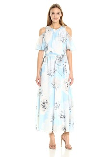 Calvin Klein Women's Printed Maxi Dress with Flutter Sleeve