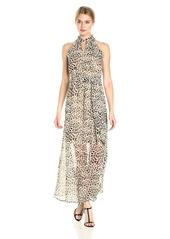 Calvin Klein Women's Printed Maxi Dress with Tie Belt
