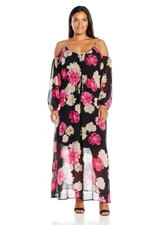 Calvin Klein Women's Printed Off the Shoulder Maxi Dress  L