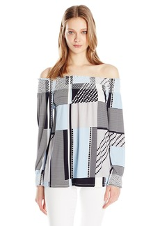 Calvin Klein Women's Printed Off the Shoulder Smocked Top  XS
