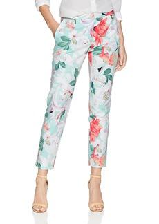 Calvin Klein Women's Printed Pant with Zippers seas Multi
