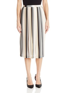 Calvin Klein Women's Printed Pleat Chiffon Skirt Blush/WHT