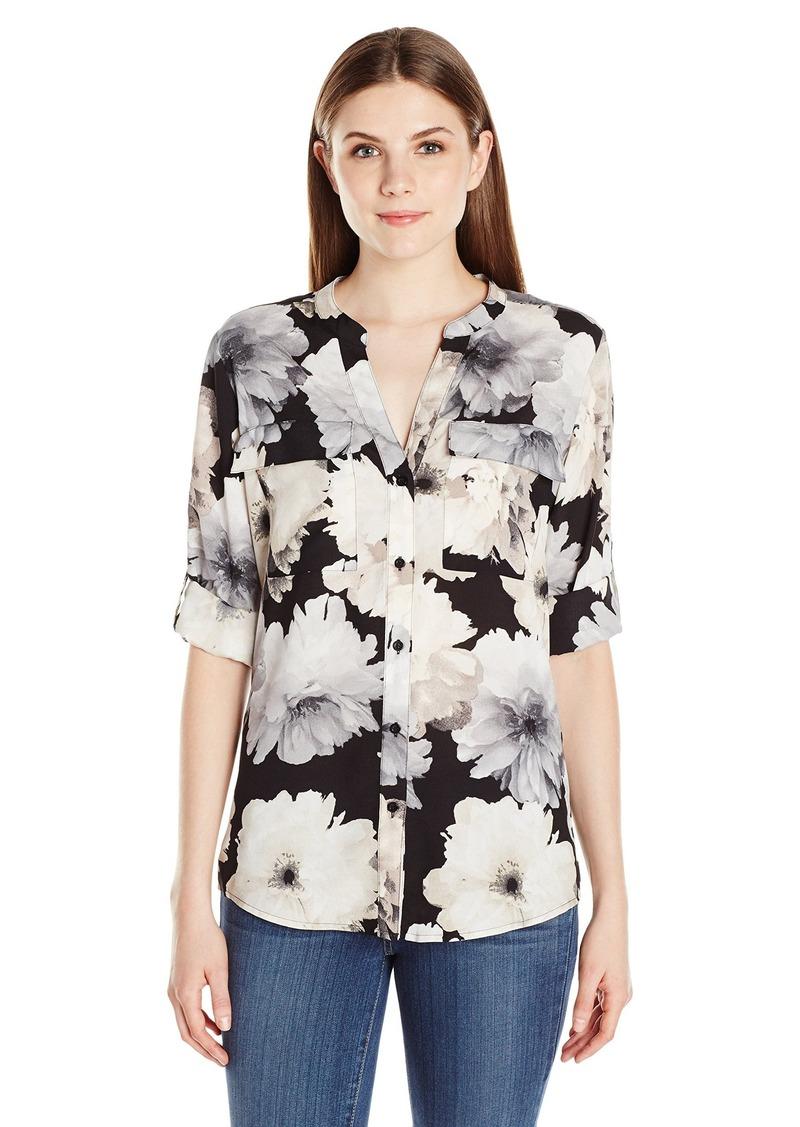Calvin Klein Women's Printed Roll Sleeve Blouse