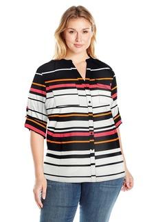 Calvin Klein Women's Printed Split Neck Roll Sleeve Blouse  S