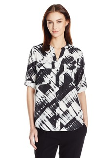 Calvin Klein Women's Printed Split Neck Roll Sleeve Blouse Blk/WHT Gss CKSP XL