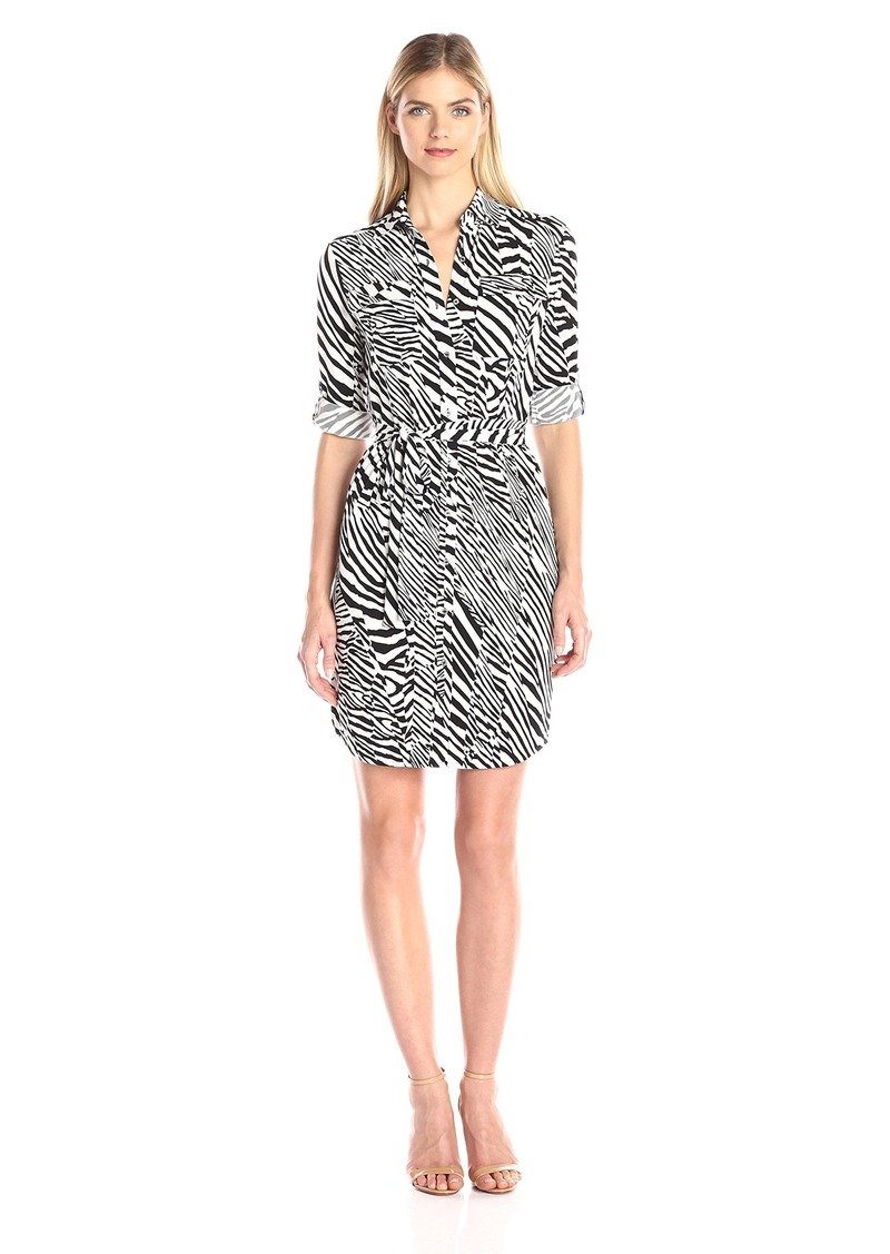 Calvin Klein Women's Printed Roll Up Sleeeve Shirt Dress