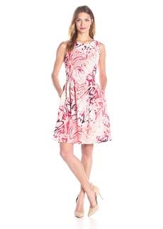 Calvin Klein Women's Printed Scuba Flare Dress