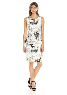 Calvin Klein Women's Printed Sheath Dress with Hardware
