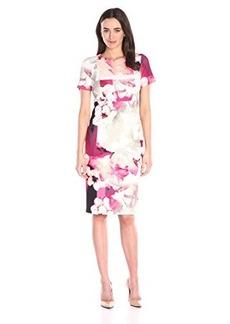 Calvin Klein Women's Printed Sheath W/ Cap Sleeve Hibiscus Multi Cksp a