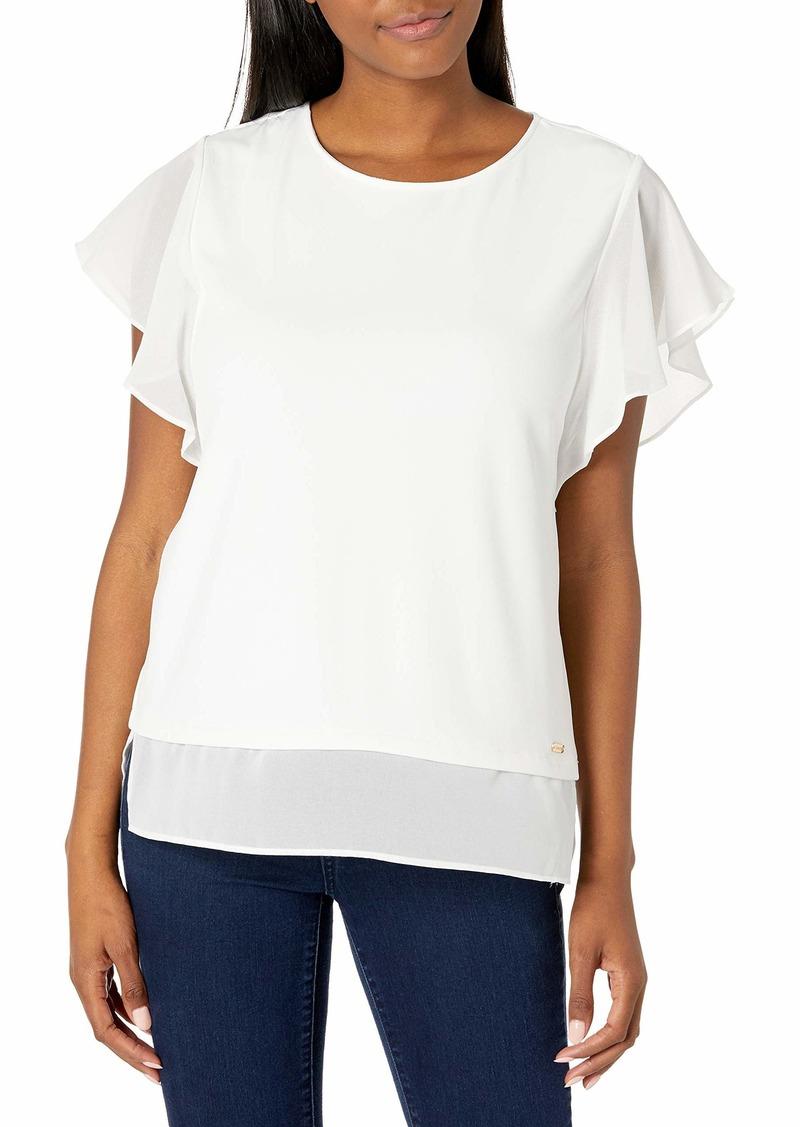Calvin Klein Women's Printed Sleeveless Chiffon TOUFER