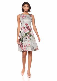 Calvin Klein Women's Printed Sleeveless Fit and Flare tin Multi