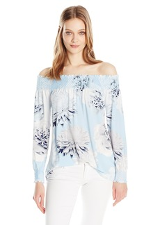 Calvin Klein Women's Printed Smocked Top  L