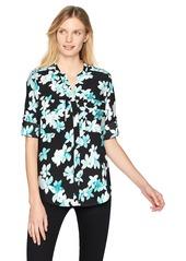 Calvin Klein Women's Printed Split Neck Roll Sleeve Blouse Black/sea Glass XS