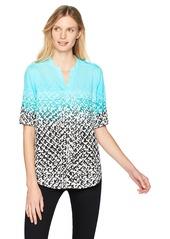 Calvin Klein Women's Printed Split Neck Roll Sleeve Blouse sea Glass Multi XS
