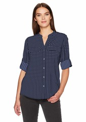 Calvin Klein Women's Printed Split Neck Roll Sleeve Blouse  XL