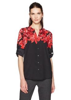 Calvin Klein Women's Printed Split Neck Roll Sleeve Blouse  XS