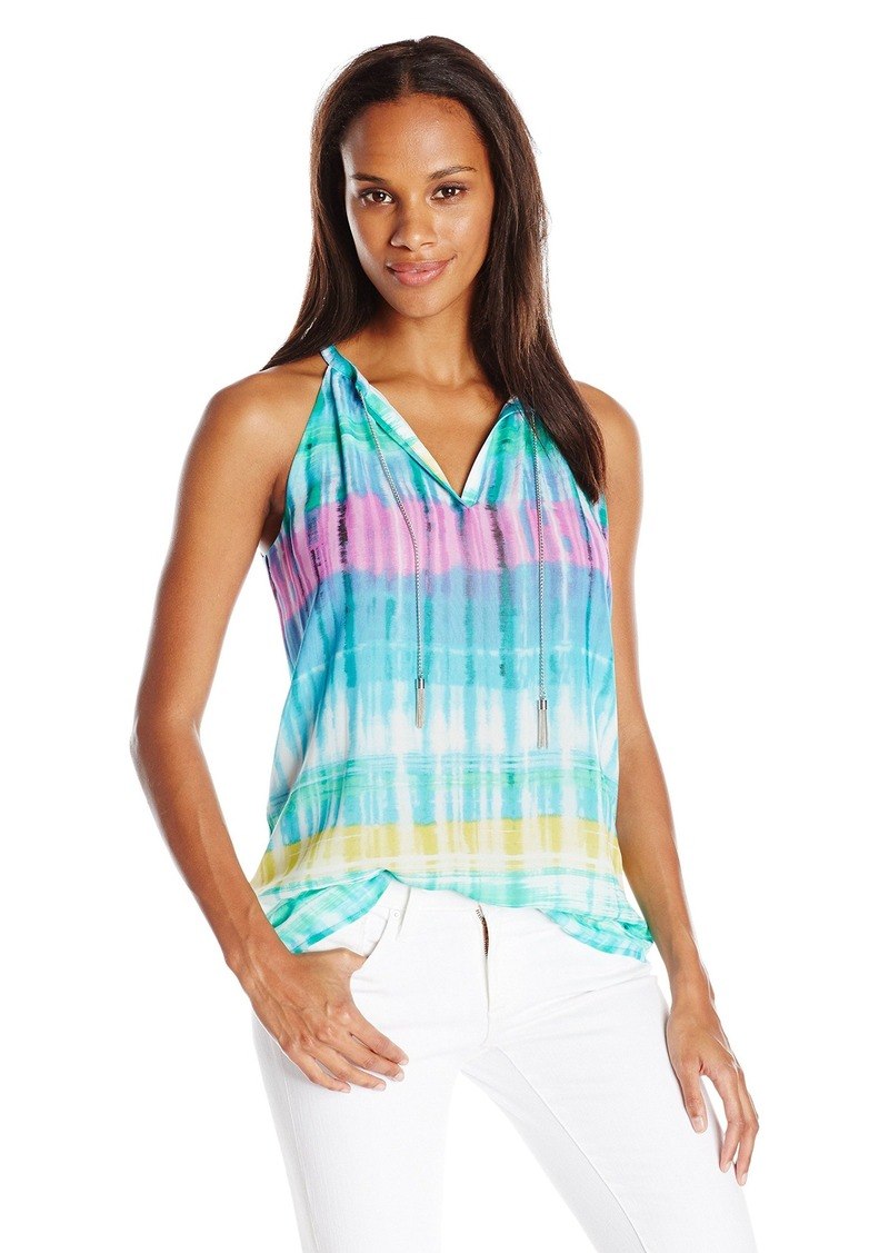 Calvin Klein Women's Printed Top W/ Chain Neck Grass Combo Cksp X-Large