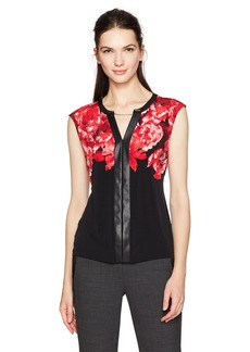 Calvin Klein Women's Printed Top with Faux Leather Rouge 2 CKSP 5208 BLK L