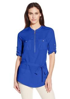 Calvin Klein Women's Printed Tunic Roll Sleeve Blouse