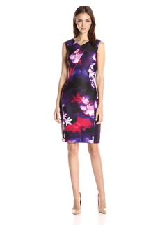 Calvin Klein Women's Printed V-Neck Sheath