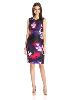 Calvin Klein Women's Printed V-Neck Sheath Blk/Rouge CKSP
