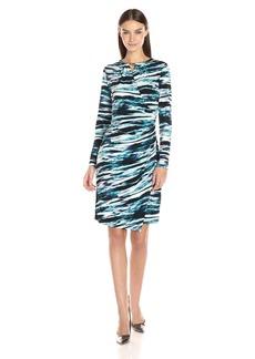 Calvin Klein Women's Printed Wrap Dress with Bar  XL