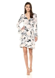 Calvin Klein Women's Printed Wrap Flare Sleeve  M