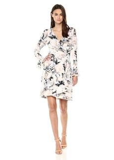 Calvin Klein Women's Printed Wrap Flare Sleeve tin/Black S