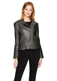 Calvin Klein Women's Pu Jacket with Seaming  L