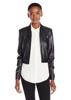 Calvin Klein Women's Long Sleeve Faux Leather Jacket Black