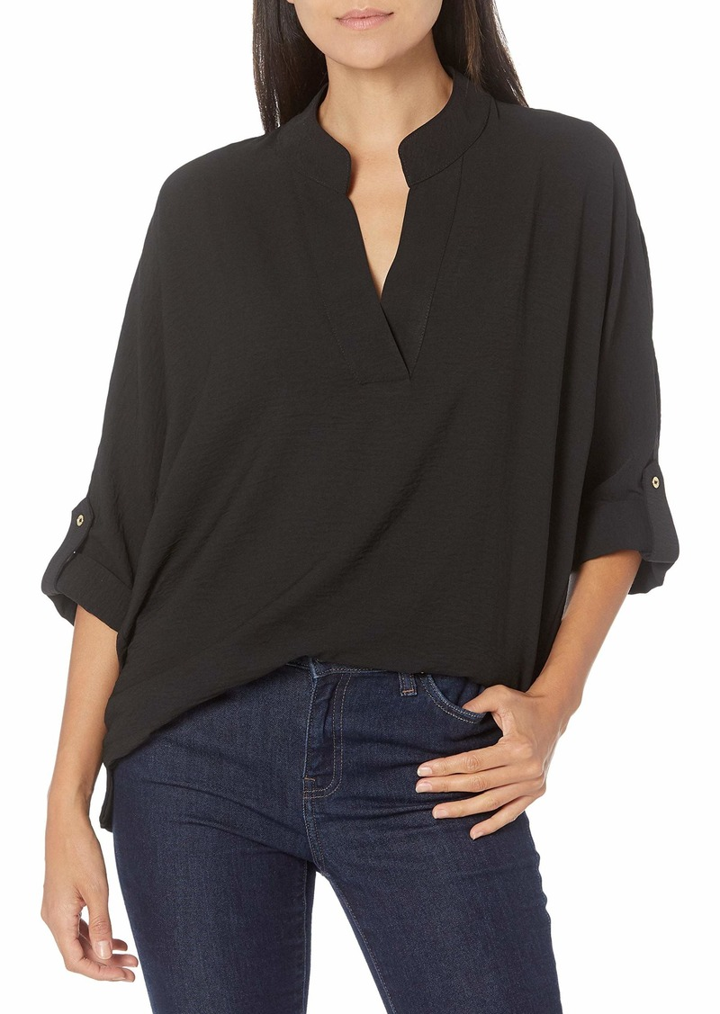Calvin Klein Women's Puckered V-Neck Roll Sleeve Top