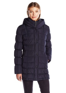 Calvin Klein Women's Puffer Coat Long with Knit Trim Side Detail  L