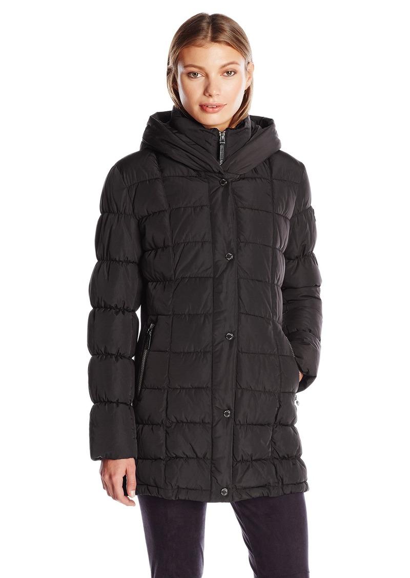 Calvin Klein Women's Puffer Coat Long with Knit Trim Side Detail  M