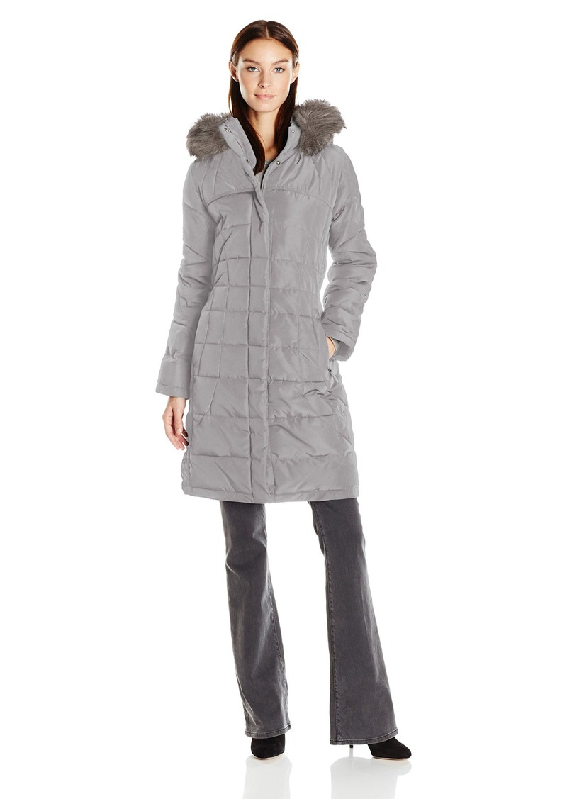 Calvin Klein Women's Puffer Long Coat with Faux Fur Trimmed Hood  S