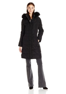 Calvin Klein Women's Puffer Long Coat with Faux Fur Trimmed Hood  XL